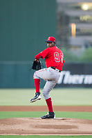 AZL Angels starting pitcher Jose Suarez (96) delivers a pitch to the plate against the AZL White Sox on August 14, 2017 at Diablo Stadium in Tempe, Arizona. AZL Angels defeated the AZL White Sox 3-2. (Zachary Lucy/Four Seam Images)