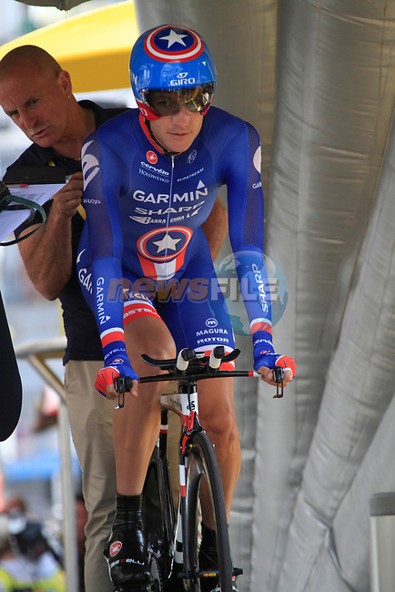 American National Champion David Zabriskie (USA) Garmin-Sharp on the start ramp of the Prologue of the 99th edition of the Tour de France 2012, a 6.4km individual time trial starting in Parc d'Avroy, Liege, Belgium. 30th June 2012.<br /> (Photo by Eoin Clarke/NEWSFILE)