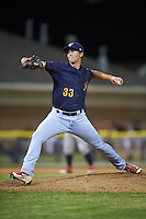 State College Spikes relief pitcher Bob Wheatley (33) delivers a pitch during a game against the Batavia Muckdogs on June 24, 2016 at Dwyer Stadium in Batavia, New York.  State College defeated Batavia 10-3.  (Mike Janes/Four Seam Images)