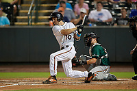 Delmarva Shorebirds Adam Hall (10) bats in front of catcher Grant Koch (34) during a South Atlantic League game against the Greensboro Grasshoppers on August 21, 2019 at Arthur W. Perdue Stadium in Salisbury, Maryland.  Delmarva defeated Greensboro 1-0.  (Mike Janes/Four Seam Images)