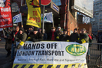 Members of the RMT & TSSA trade Unions go on strike over proposed cuts to station staff on London Underground. 5-2-14 Picketline at Elephant & Castle Station.