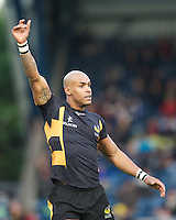 Tom Varndell of London Wasps calls for the cross kick during the LV= Cup second round match between London Wasps and Worcester Warriors at Adams Park on Sunday 18th November 2012 (Photo by Rob Munro)