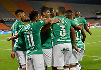 MEDELLIN - COLOMBIA, 25-02-2021: Jorge Arias del Cali celebra después de anotar el primer gol de su equipo durante partido por la fecha 9 entre Deportivo Independiente Medellín y Deportivo Cali como parte de la Liga BetPlay DIMAYOR I 2021 jugado en el estadio Atanasio Girardot de la ciudad de Medellín. / Jorge Arias player of Cali celebrates after scoring the first goal of his team during Match for the date 9 between Deportivo Independiente Medellin and Deportivo Cali as part of the BetPlay DIMAYOR League I 2021 played at Atanasio Girardot stadium in Medellin city. Photo: VizzorImage / Luis Benavides / Cont