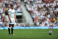 George Ford of England focusses all his attention on the kick attempt during the Old Mutual Wealth Cup match between England and Wales at Twickenham Stadium on Sunday 29th May 2016 (Photo: Rob Munro/Stewart Communications)