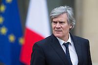 STEPHANE LE FOLL PORTE-PAROLE DU GOUVERNEMENT QUITTE LE PALAIS DE L'ELYSEE APRES LE CONSEIL DES MINISTRES DU 11 JANVIER 2017 A PARIS.