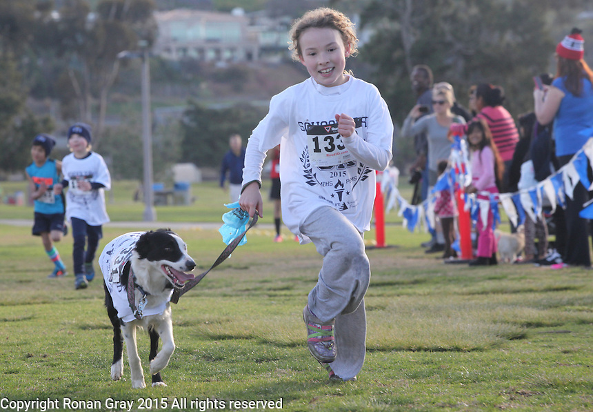 DeAnza Cove, Mission Bay, San Diego CA, USA.  Sunday, January 25 2015:  Sabrinaleigh Platt and her dog Mary complete the 1-mile kids run portion of the Friends of Pacific Beach Schools (FOPBS) School Yard Dash.  The 2nd annual charity event which raises money for the six local schools in the Mission Bay Cluster, comprised of a 1-mile run for kids followed by a 5K run for all ages. Besides parents, teachers, staff, students and siblings competitors from all over San Diego and abroad ran in the event.  All six schools in the Mission Bay cluster had information booths at the event for potential parents to meet and speak with staff and students.  Music was provided by local teenage band Rubber Band and the string ensemble from Crown Point Elementary School.