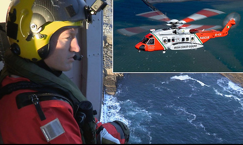 Philip Wrenn, CHC Ireland winch team member of the Irish Coast Guard Rescue 115 (inset) crew based at Shannon, won the Billy Deacon search and rescue memorial trophy 2020.