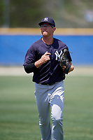 New York Yankees center fielder Blake Rutherford (23) jogs back to the dugout during a minor league Spring Training game against the Toronto Blue Jays on March 30, 2017 at the Englebert Complex in Dunedin, Florida.  (Mike Janes/Four Seam Images)
