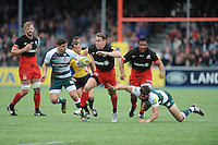 Chris Wyles of Saracens  breaks past Owen Williams of Leicester Tigers to run in a try during the Aviva Premiership semi final match between Saracens and Leicester Tigers at Allianz Park on Saturday 21st May 2016 (Photo: Rob Munro/Stewart Communications)