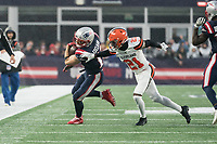 FOXBOROUGH, MA - OCTOBER 27: New England Patriots Wide Receiver Julian Edelman #11 tries to evade Cleveland Browns Cornerback Denzel Ward #21 near the sideline during a game between Cleveland Browns and New Enlgand Patriots at Gillettes on October 27, 2019 in Foxborough, Massachusetts.