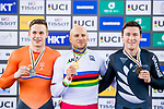 Denis Dmitriev of Russia celebrates winning the Men's Sprint Final's prize ceremony during the 2017 UCI Track Cycling World Championships on 15 April 2017, in Hong Kong Velodrome, Hong Kong, China. Photo by Marcio Rodrigo Machado / Power Sport Images
