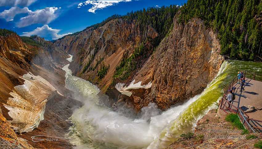 Lower Falls, Yellowstone River, Wyoming ©2018 James D Peterson.  This dramatic ultra-wide angle photo was captured from an overlook about 20 feet above the lip of the waterfall.  It's a stitched panorama made from five images captured in early June when the river was swollen from late spring snowmelt.