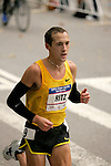 Dathan Ritzenhein runs through Central Park while competing in the 2008 Men's Olympic Trials Marathon on November 3, 2007 in New York, New York.  The race began at 50th Street and Fifth Avenue and finished in Central Park.  Ryan Hall won the race with a time of 2:09:02.