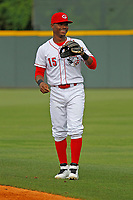 Greeneville Reds infielder Jonathan Willems (15) before a game against the Bristol Pirates at Pioneer Field on June 20, 2018 in Greeneville, Tennessee. Bristol defeated Greeneville 11-0. (Robert Gurganus/Four Seam Images)