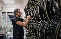 mechanic Glen Leven of Team trek-Segafredo at work<br /> <br /> 104th Tour de France 2017<br /> Stage 12 - Pau › Peyragudes (214km)