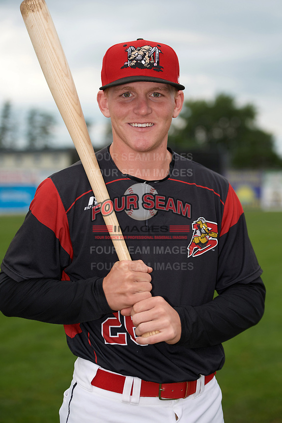 Batavia Muckdogs Jared Barnes (26) poses for a photo before a game against the Auburn Doubledays on September 6, 2017 at Dwyer Stadium in Batavia, New York.  Auburn defeated Batavia 6-3.  (Mike Janes/Four Seam Images)