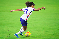 ORLANDO, FL - JANUARY 18: Margaret Purce #23 of the USWNT dribbles the ball during a game between Colombia and USWNT at Exploria Stadium on January 18, 2021 in Orlando, Florida.