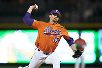 Clemson Tigers starting pitcher Brooks Crawford (19) in action against the Charlotte 49ers at BB&T BallPark on March 26, 2019 in Charlotte, North Carolina. The Tigers defeated the 49ers 8-5. (Brian Westerholt/Four Seam Images)