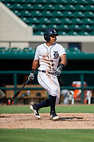 Detroit Tigers Darwin Alvarado (56) follows through on a swing during a Florida Instructional League game against the Pittsburgh Pirates on October 6, 2018 at Joker Marchant Stadium in Lakeland, Florida.  (Mike Janes/Four Seam Images)