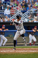 Tri-City ValleyCats shortstop Miguelangel Sierra (13) at bat during a game against the Batavia Muckdogs on July 14, 2017 at Dwyer Stadium in Batavia, New York.  Batavia defeated Tri-City 8-4.  (Mike Janes/Four Seam Images)