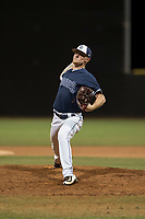 AZL Padres 2 relief pitcher Mason Fox (20) delivers a pitch during an Arizona League game against the AZL Padres 1 at Peoria Sports Complex on July 14, 2018 in Peoria, Arizona. The AZL Padres 1 defeated the AZL Padres 2 4-0. (Zachary Lucy/Four Seam Images)