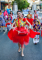 Beautiful Asian Drummer Girl, Chinatown Seafair Parade 2015, Seattle, Washington State, WA, America, USA.