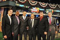 Shortstop Gavin Cecchini (Barbe H.S.) the number tweleve overall pick to the New York Mets, outfielder Courtney Hawkins (Carroll H.S.) the number thirteenth overall pick to the Chicago White Sox, Shortstop Carlos Correa (Puerto Rico Baseball Academy) the number one overall pick to the Houston Astros, former MLB All Star Joe Torre, Catcher Clint Coulter (Union H.S.) the number twentyseventh overall pick to the Milwaukee Brewers, and Pitcher Andrew Heaney (Oklahoma State) the number nine overall pick to the Miami Marlins, during the MLB Draft on Monday June 04,2012 at Studio 42 in Secaucus, NJ.   (Tomasso DeRosa/ Four Seam Images)