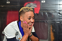 Houston, TX - Sunday Oct. 09, 2016: Lianne Sanderson celebrates after a National Women's Soccer League (NWSL) Championship match between the Washington Spirit and the Western New York Flash at BBVA Compass Stadium. The Western New York Flash win 3-2 on penalty kicks after playing to a 2-2 tie.