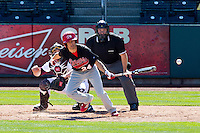 James Vazquez (24) of the Southern Illinois University- Edwardsville Cougars watches a ball hit down the third base line during a game against the Missouri State Bears at  Hammons Field on March 10, 2012 in Springfield, Missouri. (David Welker / Four Seam Images)