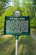 Sawyers Rock sign along Route 302 in Crawford Notch State Park of the New Hampshire White Mountains.