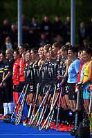 The Black Sticks line up before the Sentinel Homes Trans Tasman Series hockey match between the New Zealand Black Sticks Women and the Australian Hockeyroos at Massey University Hockey Turf in Palmerston North, New Zealand on Sunday, 30 May 2021 Photo: Dave Lintott / lintottphoto.co.nz