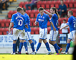 St Johnstone v Partick Thistle...28.09.13      SPFL<br /> Steven MacLean celebrates his goal<br /> Picture by Graeme Hart.<br /> Copyright Perthshire Picture Agency<br /> Tel: 01738 623350  Mobile: 07990 594431