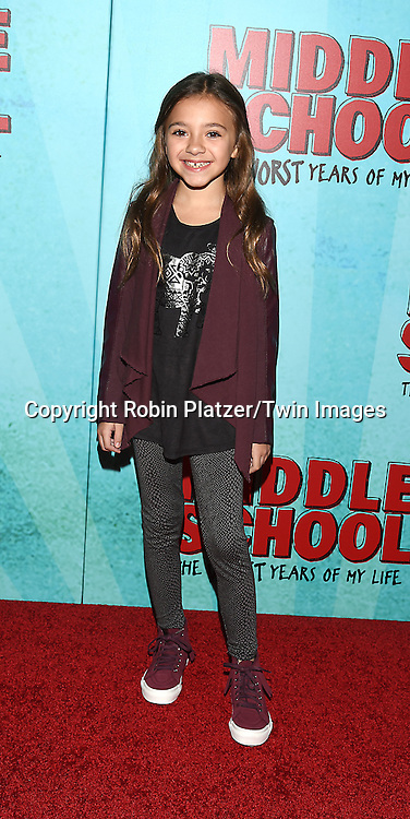 """actress Olivia Edward attends the """"Middle School: The Worst Years of My Life"""" New York Screening on October 1, 2016 at the Regal E-Walk in New York, New York, USA.<br /> <br /> photo by Robin Platzer/Twin Images<br />  <br /> phone number 212-935-0770"""