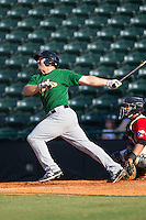 Vicente Lupo (27) of the Savannah Sand Gnats follows through on his swing against the Hickory Crawdads at L.P. Frans Stadium on June 14, 2015 in Hickory, North Carolina.  The Crawdads defeated the Sand Gnats 8-1.  (Brian Westerholt/Four Seam Images)