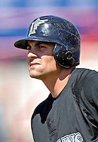 18 March 2007: Florida Marlins catcher Paul Hoover waits to take batting practice prior to facing the Washington Nationals at Space Coast Stadium in Viera, Florida...Mandatory Photo Credit: Ed Wolfstein Photo
