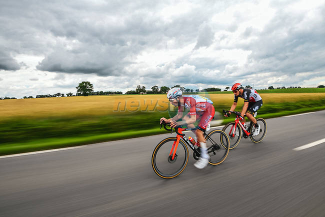 The breakaway with Pierre Luc Perichon (FRA) Cofidis and Brent Van Moer (BEL) Lotto-Soudal during Stage 4 of the 2021 Tour de France, running 150.4km from Redon to Fougeres, France. 29th June 2021.  <br /> Picture: A.S.O./Charly Lopez | Cyclefile<br /> <br /> All photos usage must carry mandatory copyright credit (© Cyclefile | A.S.O./Charly Lopez)