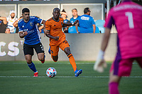 SAN JOSE, CA - JULY 24: Luciano Abecasis #2 of the San Jose Earthquakes chases Fafa Picault #10 of the Houston Dynamo during a game between San Jose Earthquakes and Houston Dynamo at PayPal Park on July 24, 2021 in San Jose, California.