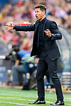 Coach Diego Simeone of Atletico de Madrid gestures during their 2016-17 UEFA Champions League Quarter-Finals 1st leg match between Atletico de Madrid and Leicester City at the Estadio Vicente Calderon on 12 April 2017 in Madrid, Spain. Photo by Diego Gonzalez Souto / Power Sport Images