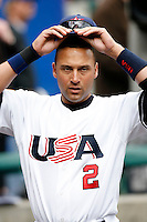 Derek Jeter of the USA during the World Baseball Championships at Angel Stadium in Anaheim,California on March 12, 2006. Photo by Larry Goren/Four Seam Images