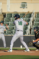 Jacob Gonzalez (18) of the Augusta GreenJackets at bat against the Kannapolis Intimidators at Kannapolis Intimidators Stadium on June 21, 2019 in Kannapolis, North Carolina. The Intimidators defeated the GreenJackets 6-1. (Brian Westerholt/Four Seam Images)