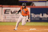 Bowie Baysox outfielder Garabez Rosa (2) running the bases during a game against the Binghamton Mets on August 3, 2014 at NYSEG Stadium in Binghamton, New York.  Bowie defeated Binghamton 8-2.  (Mike Janes/Four Seam Images)