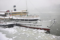 Kossuth boat in the ice on the Danube in the snow. Budapest stock photos