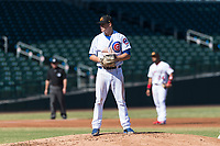 Mesa Solar Sox starting pitcher Justin Steele (45), of the Chicago Cubs organization, gets ready to deliver a pitch during an Arizona Fall League game against the Salt River Rafters at Sloan Park on October 30, 2018 in Mesa, Arizona. Salt River defeated Mesa 14-4 . (Zachary Lucy/Four Seam Images)