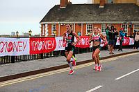 3rd October 2021; London, England: The Virgin Money 2021 London Marathon: Rose Harvey  of Great Britain crossing Narrow Street Swing Bridge, Limehouse Basin between mile 14 and 15.