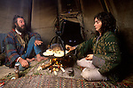 Hippy couple living in a Tee Pee in Wales at Llandeilo Wales 1980s UK. So called Tee Pee Valley.<br /> <br /> John Silvani and Crazy Crow Yvonne Maya (mother of Seren and Shanta)