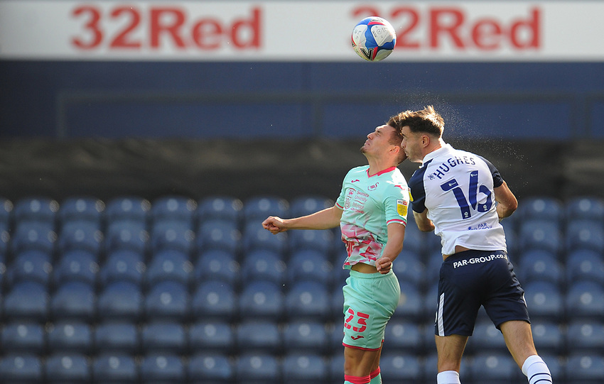 Preston North End's Andrew Hughes vies for possession with Swansea City's Connor Roberts<br /> <br /> Photographer Kevin Barnes/CameraSport<br /> <br /> The EFL Sky Bet Championship - Preston North End v Swansea City - Saturday September 12th 2020 - Deepdale - Preston<br /> <br /> World Copyright © 2020 CameraSport. All rights reserved. 43 Linden Ave. Countesthorpe. Leicester. England. LE8 5PG - Tel: +44 (0) 116 277 4147 - admin@camerasport.com - www.camerasport.com