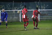 Jaydon Charles of Clapton scores the fifth goal for his team and celebrates during Redbridge vs Clapton, Essex Senior League Football at Oakside Stadium on 31st January 2020