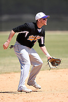 March 15, 2010:  Third Baseman Josh Burlison of the Fontbonne University Griffins in a game vs. Roger Williams University Hawks at Lake Myrtle Park in Auburndale, FL.  Photo By Mike Janes/Four Seam Images