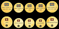 BNPS.co.uk (01202 558833)<br /> Pic: DixNoonanWebb/BNPS<br /> <br /> Pictured: British and Polish commemorative coins.<br /> <br /> The bravery medals awarded to disgraced media tycoon Robert Maxwell for his wartime heroics have today sold for £7,500.<br /> <br /> Decades before the fraudster stole millions of pounds from the pension fund of Mirror Group Newspapers and then drowned in mysterious circumstances, Maxwell was a decorated war hero with a tragic past.<br /> <br /> Maxwell took part in the Normandy invasion and fought across Europe towards Germany. In April 1945 he was awarded the Military Cross for storming a German machine-gun post that had been pinning down British soldiers on the Holland/German border.<br /> <br /> His medals went under the hammer with London auctioneers Dix Noonan Webb.