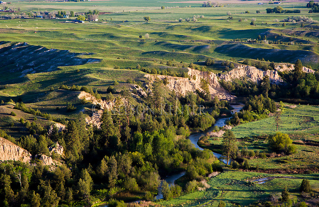 Mission Creek winds its way through trees, cliffs and rolling hills in the Mission Valey in western Montana
